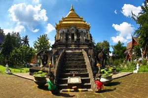 Gold topped elephant chedi at Wat Chiang Man Temple in Chiang Mai, Thailand