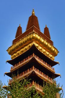 Gold tower on the Jing'an Buddhist Temple on West Nanjing Road, Shanghai, China