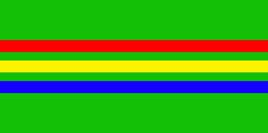 Graphic colour design, green background and coloured lines and stripes