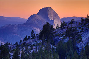 Half Dome mountain at sunset in Yosemite Valley, California, USA