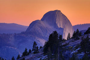 Half Dome mountain at sunset in Yosemite Valley, Yosemite National Park, California, USA
