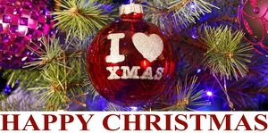 Happy Christmas, I Love Xmas, souvenir red bauble tree decoration