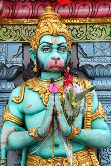 Hindu Monkey God Hanuman, Sri Krishna Bagawan Temple in Singapore, Republic of Singapore