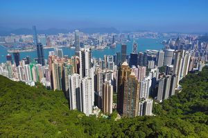 Hong Kong city skyline from Victoria Peak in Hong Kong, China