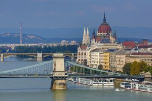 The Hungarian Parliament Building, the Orszaghaz, the Szechenyi Chain Bridge