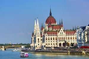 The Hungarian Parliament Building, the Orszaghaz, and the River Danube in Budapest