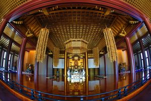 Interioir of the Daiden (Hondo) the main hall of Zojoji Temple and the Tokyo Tower