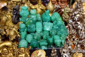 Jade figures on sale in the Old City, Shanghai, China