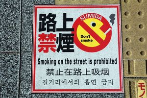 Japanese no smoking sign on the pavement, Tokyo, Japan