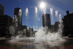 Jets of water at Rings Fountain in the Wharf District of Boston