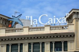 La Caixa Spanish Bank sign and logo in Barcelona, Spain