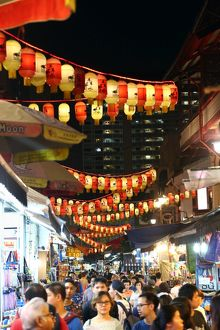 Lanterns above a street market in Chinatown for Autumn Festival in Singapore, Republic