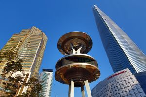 Lotte World Tower and Mall, Lotte Castle Gold apartments and metal structure at the