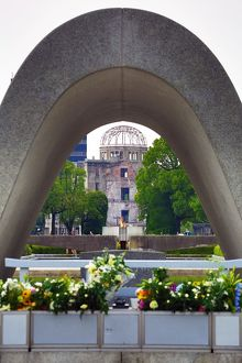 The Memorial Cenotaph and the Genbaku Domu, Atomic Bomb Dome, in the Hiroshima Peace Memorial Park