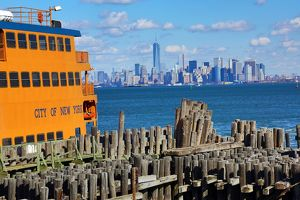 New York Manhattan city skyline and Staten Island ferry New York