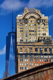 Old traditional and new buildings including One World Trade Center ( 1 WTC ), New York