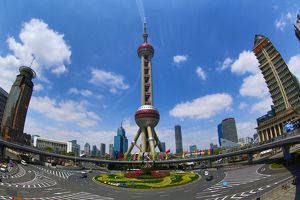 The Oriental Pearl TV Tower in Pudong, Shanghai, China