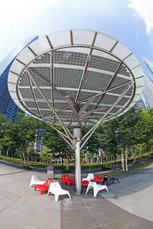 Outdoor air conditioning cooling fans on the waterfront in Singapore, Republic of
