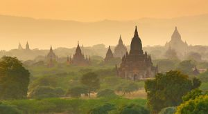 Pagodas at sunset on the Central Plain of Bagan, Myanmar