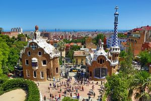 Parc Guell park with architecture deisgned by Antoni Gaudi in Barcelona, Spain