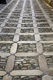Paved stone road in Erice, Sicily, Italy