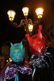 People wearing cat masks and costumes at the Venice Carnival