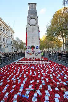 Poppies and wreathed on Remembrance Day at the Cenotaph, London