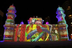 Projection mapping images on ice sculptures at the 65th Sapporo Snow Festival 2014