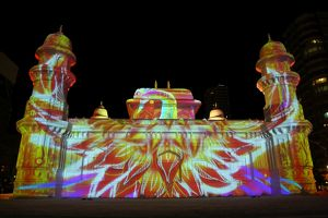 sapporo snow festival/projection mapping images ice sculptures 65th