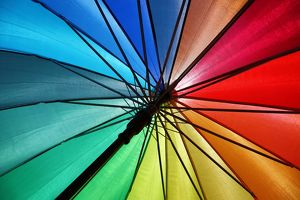 Rainbow coloured umbrella in Malacca, Malaysia