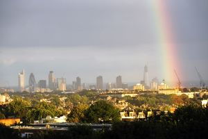 Rainbow over the skyline of the City of London, England - 6th August 2011