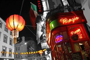 Red Chinese Lanterns and lights in Chinatown, London, spot colour