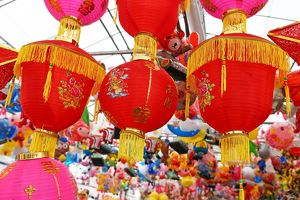 Red Chinese lanterns on sale in a street market in Chinatown in Singapore, Republic