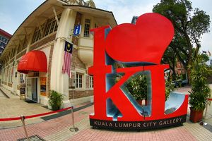 Red heart in the I love KL ststue outside the Kuala Lumpur City Gallery in Kuala Lumpur