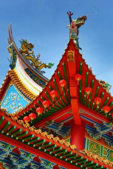 Red lanterns and dragon roof decorations on the Thean Hou Chinese Temple, Kuala Lumpur