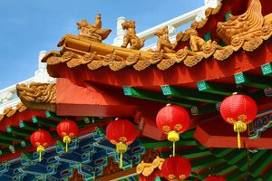 Red lanterns and roof decorations on the Thean Hou Chinese Temple, Kuala Lumpur, Malaysia