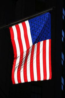 Red, white and blue Stars and Stripes American flag, New York. America