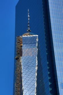 Reflection of One World Trade Center ( 1 WTC ) building, New York. America