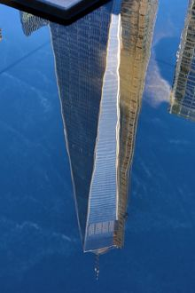 Reflection of the One World Trade Center ( 1 WTC ) building, New York. America