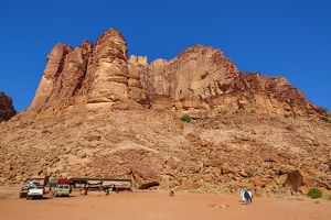 Rock formations of Lawrence's Spring in the desert at Wadi Rum, Jordan