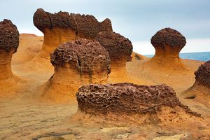 Rock formations at the Yehliu GeoPark, Wanli in Taiwan