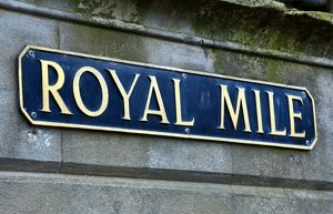 Royal Mile street sign in Edinburgh, Scotland, United Kingdom