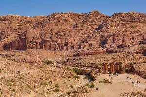 The Royal Tombs and central valley in the rock city of Petra, Jordan