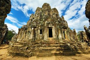 Ruins of the Bayon Khmer Temple, Angkor Thom , Siem Reap, Cambodia