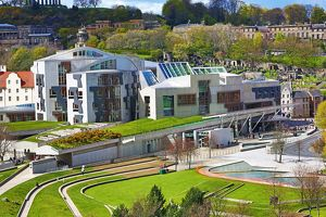 The Scottish Parliament Building in Edinburgh, Scotland, United Kingdom