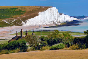 The Seven Sisters chalk cliffs, Cuckmere Haven, West Sussex, England, United Kingdom