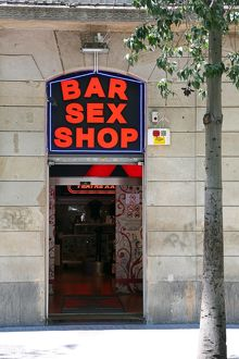 Sex shop doorway and sign on La Rambla, Barcelona, Spain