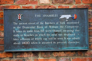 The Shambles street sign in York, Yorkshire, England