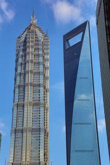 The Shanghai Central Tower and the Jin Mao Tower in Luijiazui, Pudong, Shanghai, China