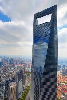 The Shanghai World Financial Center skyscraper building in Luijiazui, Pudong, Shanghai